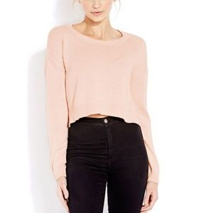 FOREVER 21 Drop-Sleeve Cropped Sweater BLUSH PINK